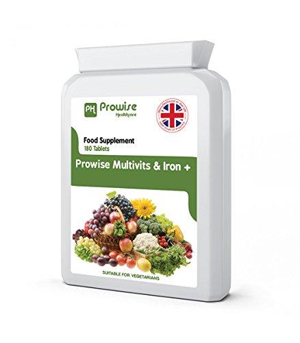 Multi Vitamins & Iron 180 Tabletten (6 Monate Dosis) – Täglich 1 Tag Multi-Vitamin Supplement – UK hergestellt nach GMP Garantierte Qualität – Geeignet für Vegetarier