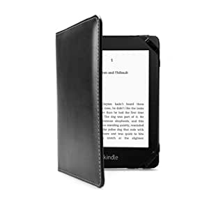 """PrimeCases® Kindle Touch Black PU Leather Case With Hand Grip -- Easy Hold Hand-Grip With Elastic Strap Case For The Amazon Kindle Paperwhite / Touch Wi-Fi, 6"""" E Ink Display Open Book Style Carry Cover (2012 Kindle Model)"""