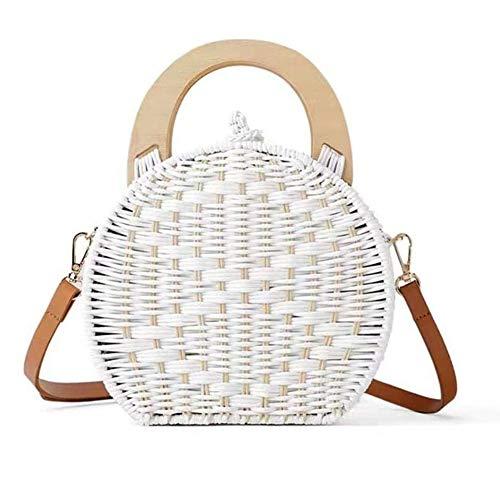 Strand-szene Stoff Handtaschen (CSPone | Korbtasche geflochten rund, Strohtaschen Damen Strand, Körbe geflochten, Einkaufskorb geflochten, Bastkorb, Handtaschen, Umhängetasche, Runde)