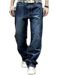 Ghope Jeans de designer pour homme Grande Taille Loose Fit Stretch Jeans Cotton Denim ,3 farbe Blau Schwarz 28W -44W