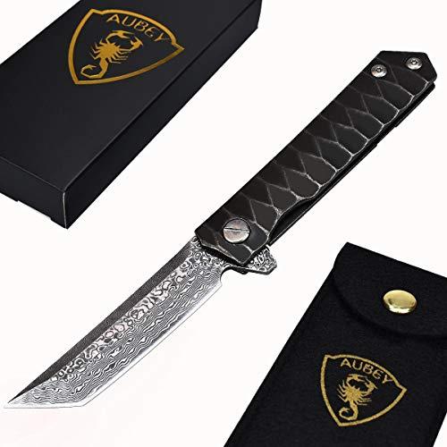AUBEY Tanto Messer Damast Klappmesser Outdoor Taschenmesser Scharf Angelmesser EDC Damastmesser Survival Jagdmesser Damaststahl Knife (Tanto A)