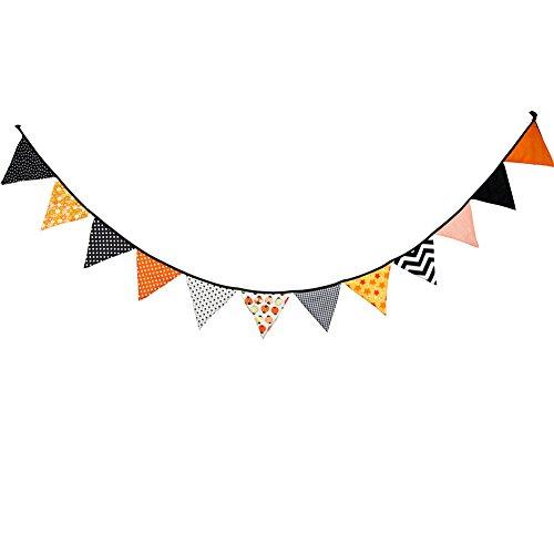 agge Banner, TechCode Halloween Dreieck Fabric Flag Bunting Banner für Girlanden Hochzeitstag Geburtstag Party Weihnachtsdekoration (Halloween Bunting Muster)