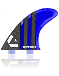 Dorsal Carbon (Hexcore) Thruster Surfboard Surf Fins (3) Honeycomb FCS Base Blue