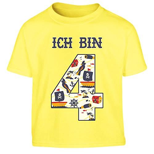 Ich Bin 4 Junge Pirat Geburtstag Kleinkind Kinder T-Shirt - Gr. 86-116 96/104 (3-4J) Gelb -