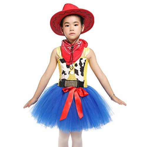 Mädchen Tanz Kostüm Cowgirl - Mädchen Jessie Kostüm Cowgirl Kostüm Tutu Kleider mit Bandana Prinzessin Fancy Halloween Geburtstag Party Outfit, rot