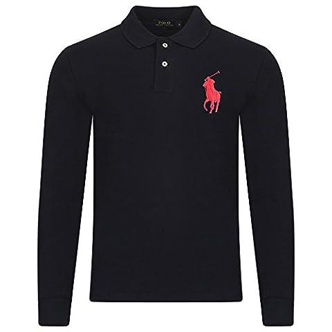 Ralph Lauren Men's Polo Shirt. Long Sleeve. Big Pony. Custom Fit (L, NAVY (RED PONY))