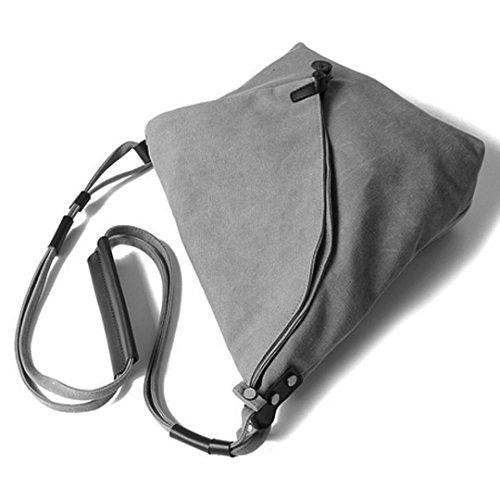 AiSi Damen Canvas moderne Handtasche Damenhandtaschen Umhängetasche Segeltuchtasche mit Leinwand Schulterriemen Grau Grau