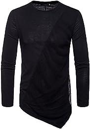 suchergebnis auf amazon de f�r herren tunika hemd bekleidung  jyjm herren stitching farbe lang�rmeligen m�nner casual mesh t shirt top herrenmode unregelm��igen hemd herren