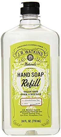 J.R. Watkins Liquid Hand Soap Refill, Aloe and Green Tea, 24 Fluid Ounce (Pack of 6)