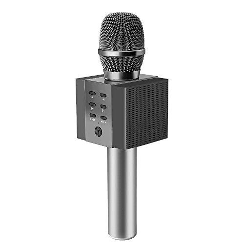 TOSING 008 Wireless Bluetooth Karaoke Microphone,Louder Volume 10W Power,  More Bass, 3-in-1 Portable Handheld Double Speaker Mic Machine for