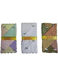 Milano Combo of White, Light & Dark colour Cotton handkerchiefs for women - Pack of 18 pcs(6Pcs each)