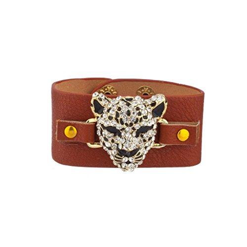 LUX Zubehör Leopard Pavé Katze Faux Leder Snap Armband (Leder Bandera)