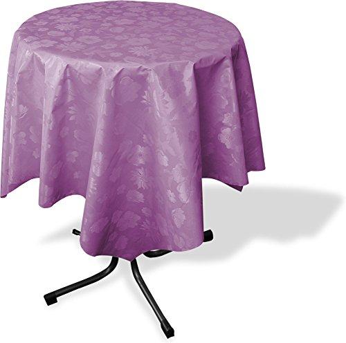 GearUp Wachstuch Tischdecke für Draußen und Drinnen - Wetterfest abwaschbar Pflegeleicht -in Verschiedenen Mustern im Landhaus Stil Farbe Lila Vintage Größe Rund 140 cm