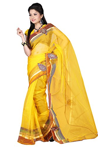 Florence Self Fashion Tissue Sari (FL-10090_Yellow)