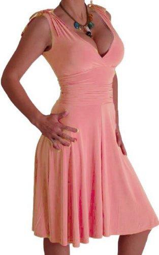 EyeCatchClothing - Sasha verführerisches Kleid in griechischem Style Pfirsich Gr. 18 UK / 46 EU