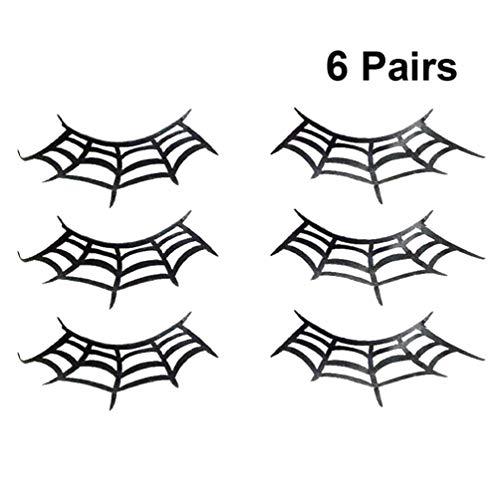 Schwarze Paare Kostüm Für Menschen - Beaupretty Spinnennetz gefälschte Wimpern, Spinnennetz schwarzer Spitze Papier Make-up Kunst Wimpernverlängerung für Halloween-Kostüm, 6 Paare