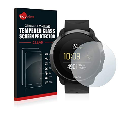 Savvies Panzerglas kompatibel mit Suunto 3 Fitness - Echt-Glas, 9H Härte, Anti-Fingerprint
