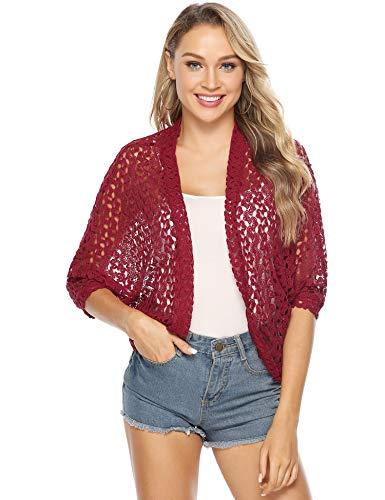 Crochet Floral Cardigan (Hawiton Damen Schulter Jacke Bolero Kurz Elegante Jacke Florale Spitze Cardigan Offene Jacke 3/4 Schmetterling Armel)