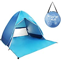 MOGZZi Pop Up Tent, Outdoor Automatic Beach Tent Portable Cabana Baby Tent Sun Shelter for Family Activities Garden/Camping/Fishing/Beach Times with Zipper Door (for 2-3 Person)