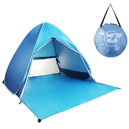Pop Up Tent, Automatic Beach Tent Outdoor Sun Shelter Waterproof Anti-UV Shade Camping Tent Baby Tent for Garden, Beach,Picnic and Travel - with Zipper Curtains