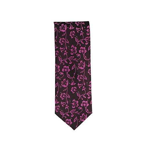 Silk Ties Krawatte Klassisch Seide Schwarz Rosa Floral Rankenmuster 8 cm Pure Silk Floral Tie