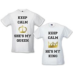 Idea Regalo - Babloo Coppia di T-Shirt Amore Uomo Donna Idea Regalo Fidanzati Keep Calm King And Queen Bianche Uomo XL - Donna XL