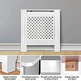 Yiyai, copritermosifone bianco in pannello in fibra MDF, copertura per radiatore da parete, in legno di prima qualità, S, M, L, MDF, bianco, small