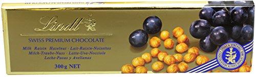Lindt Schokolade Vollmilch, Trabe & Nuss, 300g Tafel (Swiss Premium Chocolate Lait-Raisin-Noisettes)