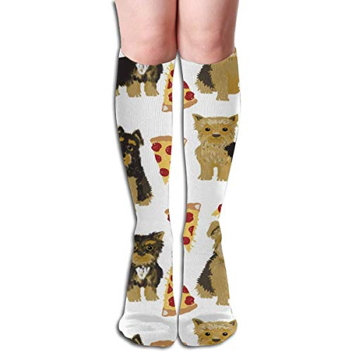 NFHRRE Yorkie Pizza, Yorkshire Terriers Pizza Funny Cute Dog Novelty Food Print for Yorkie Owners Best Dogs for Home Dec Men's Women's Cotton Crew Athletic Sock Running Socks Soccer Socks 60cm - Food Dog Yorkie