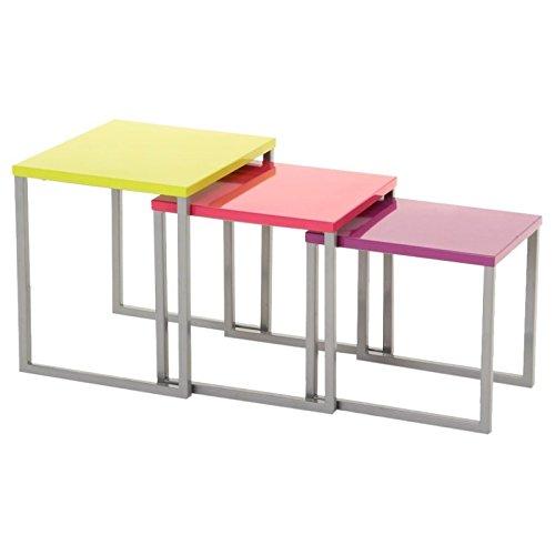 Lot de 3 tables basses gigognes - Utilisation intérieure et extérieure - Coloris Multicolore