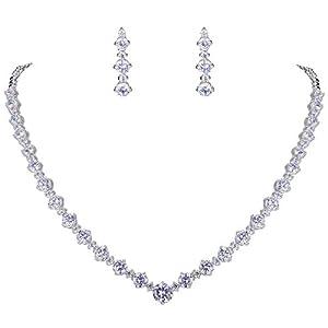 Ever Faith® Hochzeit Silber-Ton klar Zirkonia CZ Blume rund Halskette Ohrringe Set N02037-1