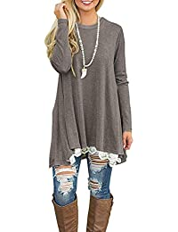 5bfc9f0447b485 NICIAS Womens Lace Casual Crew Neck Tunic Tops Loose Blouse T Shirt