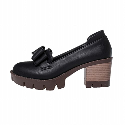 Mee Shoes Damen süß modern bequem dicker Absatz mit Schleife Blockabsatz Geschlossen runde Plateau Pumps Schwarz