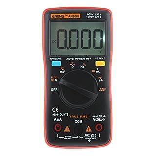 UEETEK AN8008 Digital Multimeter Electronic Measuring Instrument Portable Meter Equipment Industrial LCD Digital Multimeter DC AC Voltage Diode Freguency Multitester(Red)