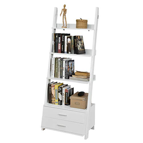SoBuy® FRG230-W Leiterregal Bücherregal Standregal Badregal mit Ablagen und 2 Schubladen in weiß, BHT ca: 65x171x41cm (Bücherregal Schublade)