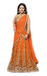 vaankosh fashion women orange net designer embroidered lehenga / bollywood lehenga/partywear lehenga/lehenga