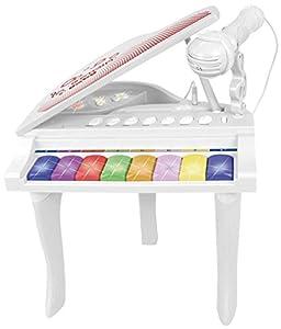 Bontempi-102025-Piano 8Teclas con Micro-Baby, 102025, Color Blanco Rojo