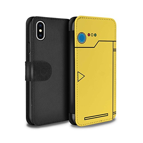 Stuff4® PU-Leder Hülle/Case/Tasche/Cover für Apple iPhone XS/Gelb Muster/Anime Cartoon Kodex Kollektion