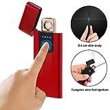 AOLVO Briquet Original Pas Cher - Briquet électrique USB Rechargeable Pas Cher - Briquet Homme Original - Détection D'empreinte Digitale Tactile Ultra-Mince Créative - 7.2x3x0.44CM - Rouge