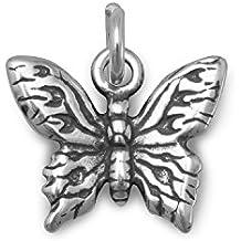 Oxidado Plata De Ley Butterfly Charm mariposa mide 12mm x 14mm encanto cuelga 15mm