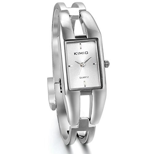 JewelryWe Damen Armbanduhr, Elegant Charm Casual Analog Quarz Uhr mit Weiss Rechteck Zifferblatt