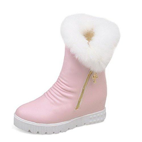 AllhqFashion Damen Weiches Material Rund Zehe Rein Mitte-Spitze Mittler Absatz Stiefel, Pink, 38