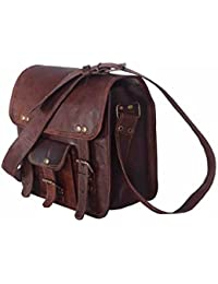 "9"" Pure Genuine Leather Handmade Satchel Messenger Unisex Shoulder Real Brown Cross Body Bag Daily Use."