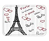 VICKKY Doormat Pari Set Eiffel Tower Decor Eiffel Tower PariiAlwaya Good Idea Tourism LocationSweet Love Bathroom Accessoriewith HookWhite Black Red 23.6 W X 15.7 W Inches