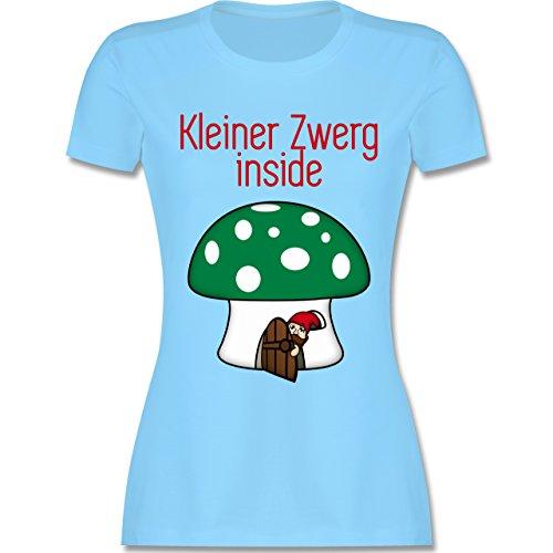 Schwangerschaft - Kleiner Zwerg inside Pilz Häuschen - tailliertes Premium T-Shirt mit Rundhalsausschnitt für Damen Hellblau