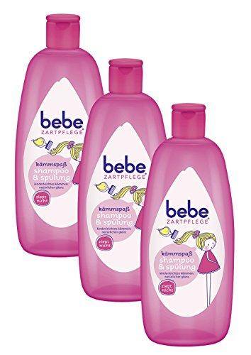 bebe Zartpflege Kämmspaß Shampoo & Spülung – 2 in 1 Shampoo & Spülung – pH-neutrales Shampoo & Spülung – 3 x 300ml