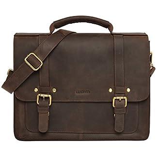 LEABAGS Omaha maletín de auténtico Cuero búfalo en el Estilo Vintage
