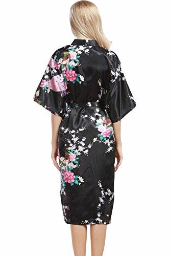VERNASSA Damen Pfau Robes Silk Satin Flora Lange Nachtwäsche, Batwing Ärmel Kimono Nachthemd, Pyjamas Lingerie Dessous set für Hochzeitsfeier Geschenk, Übergröße & Mehrfarbig Black-200