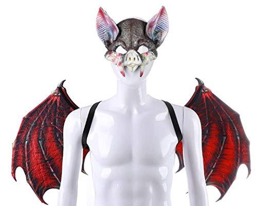 Kostüm Erstaunlich Scary - ZTYD Halloween Maske Für Erwachsene, Fledermaus Vampir Maske Flügel Set, Kostüm Horror Cosplay Scary Latex Realistische Prop Gesichtsmaske Party Kostüm Requisiten,Rot