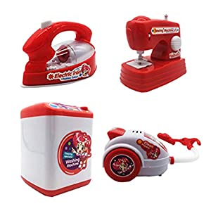 HorBous Appliances Set für Kinder Haushaltsgeräte Spielzeug Waschmaschine Staubsauger Eisen Nähmaschine für Kinder Spielzeug